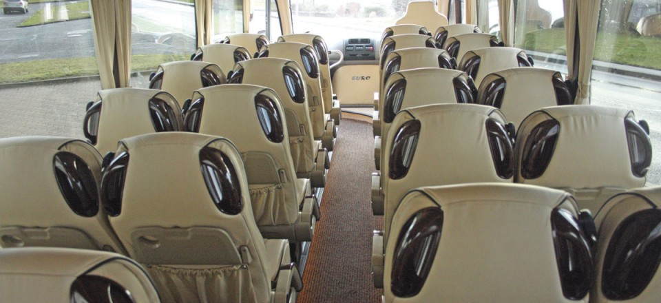 Full length racks are fitted down both sides of the Cannon Euro Variant Luxor coach - New coach for sale Ireland